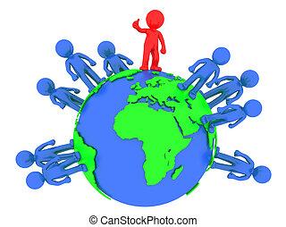 3D Menschen um den Globus