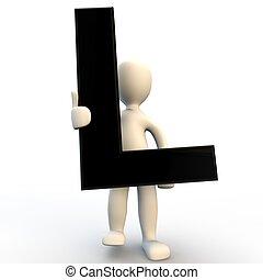 3D menschliche Figur mit schwarzem Buchstaben L, kleine Leute.