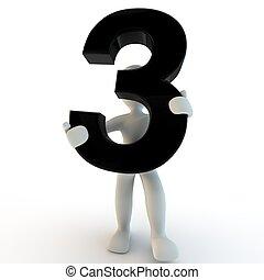 3D menschliche Figur mit schwarzer Nummer 3, kleinen Leuten.