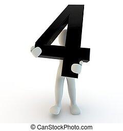 3D menschliche Figur mit schwarzer Nummer 4, kleinen Leuten.