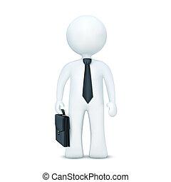 3D mit Koffer und Krawatte stehen