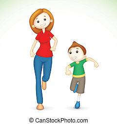 3D Mutter und Sohn rennen