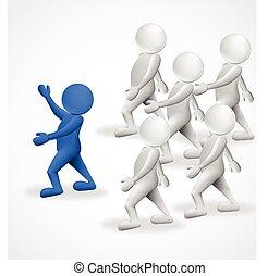 3d people Leader Business Logo.