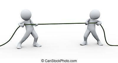 3d Perople ziehen Seil