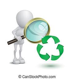 3d Person beobachtet das Recycling-Symbol mit einer Lupe.