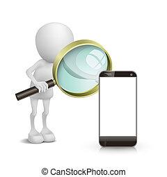 3d Person, die ein Handy mit einer Lupe beobachtet.