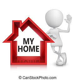 3D Person mit einem Haussymbol.