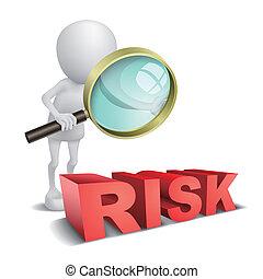 """3d Person schaut ein Wort """"Risk"""" mit einer Lupe."""