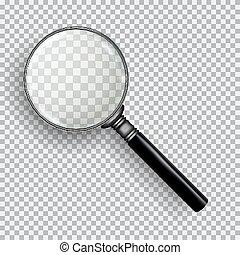 3D realistische Lupe. Transparente Loupe auf kariertem, weißem Hintergrund.