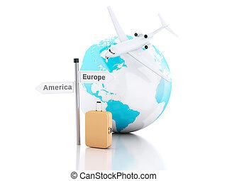 3d Reisekoffer, Flugzeug und Weltkugel. Reisekonzept