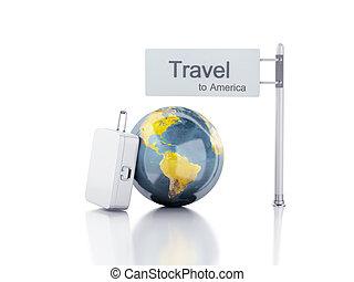 3d Reisekoffer und Weltkugel. Reisekonzept