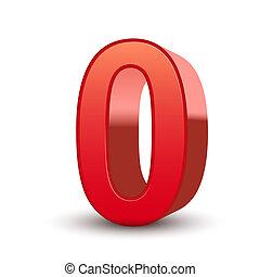 3D rote Nummer 0.