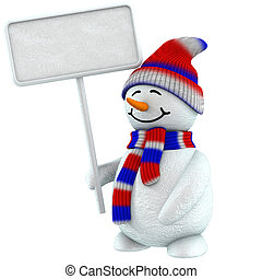 3d Snowman Label