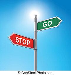 3D-Straßenschilder sagen, anhalten und gehen.