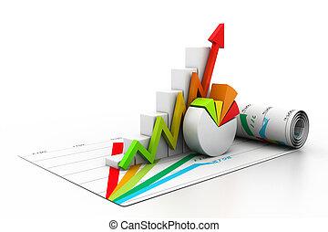 3D Unternehmenswachstum Graph.