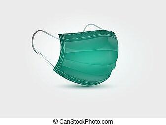 3d, vektor, klinikum, maske, protection., weißes, covid-19, chirurgische maske, medizin, atmungs, freigestellt, hintergrund, mask., grünes gesicht, sicherheit, atmen, realistisch