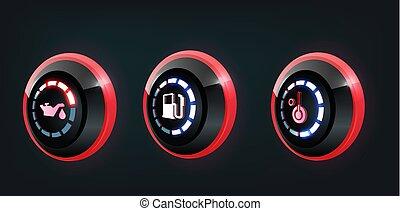 3D-Vektor-Sammlung von Auto-Dashboard Panel Indikatoren, rot , blaue Indikatoren.