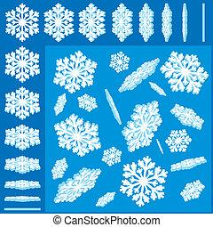 3D-Vektor-Schneeflakes bereit