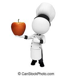 3d Weiße als Chefkoch mit Apfel.