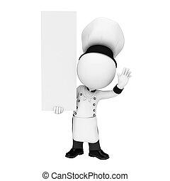 3d Weiße als Koch mit Schild