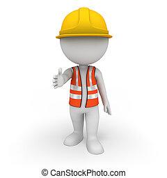 3d Weiße als Straßenarbeiter.