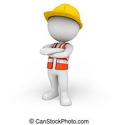 3d Weiße als Straßenarbeiter