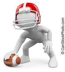 3D-Weiße. Amerikanischer Footballspieler. Rugby