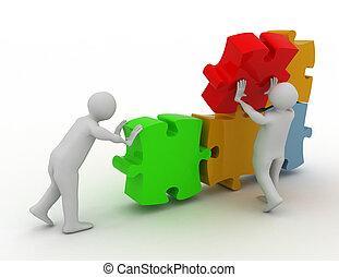 3d Weiße arbeiten zusammen. Teamwork Konzept