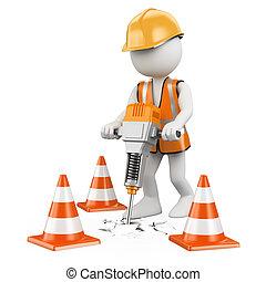 3D Weiße. Arbeiter mit einem Presslufthammer