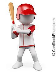 3D-Weiße. Baseballspieler
