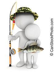 3d Weiße fischen mit Sohn
