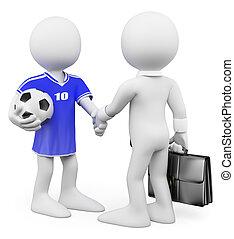 3D-Weiße. Football-Spieler-Manager