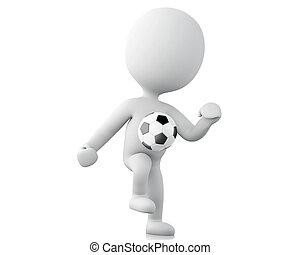 3d Weiße, Fußballspieler mit Ball.