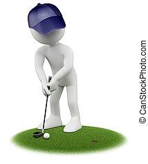 3D Weiße. Golfer