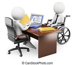 3D-Weiße. Handicapped Person in einem Vorstellungsgespräch