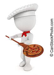 3d Weiße kochen Pizza.