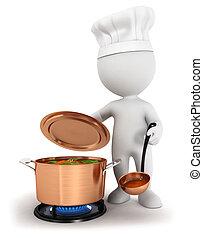 3d Weiße kochen