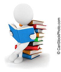 3d Weiße lesen ein Buch