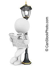 3d Weiße lesen Zeitung