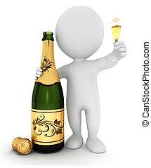 3d Weiße mit Champagner