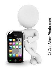 3d Weiße mit einem Smartphone