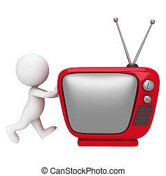 3d Weiße mit Fernsehen.
