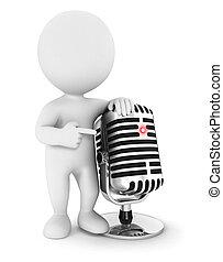 3d Weiße mit Mikrofon