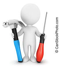 3d Weiße mit Werkzeug