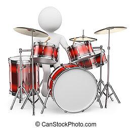 3D-Weiße. Musiker spielen Schlagzeug
