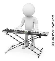 3D-Weiße. Musiker spielen Tastatur. Klavier