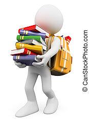 3D Weiße. Schüler mit einem Stapel Büchern