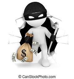 3d Weiße stehlen mit Geld