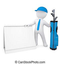 3d weißer Mann mit einem Kalender