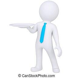 3d weißer Mann mit einer Schüssel in der Hand